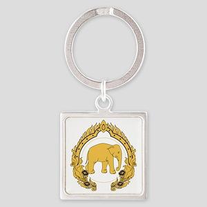 Thai-elephant-gold-black Square Keychain