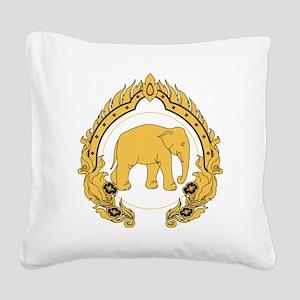 Thai-elephant-gold-black Square Canvas Pillow