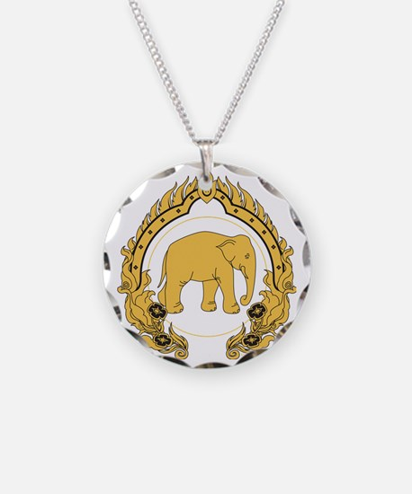 Thai-elephant-gold-black Necklace