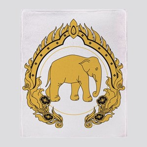 Thai-elephant-gold-black Throw Blanket
