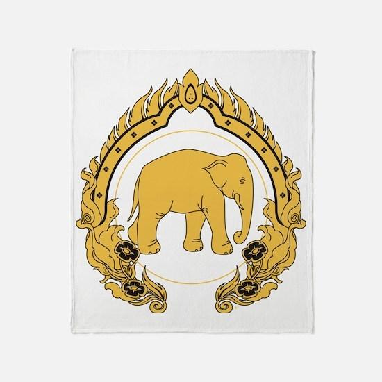 Thai-elephant-gold-black Throw Blanket