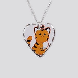 Tiger-magpie Necklace Heart Charm