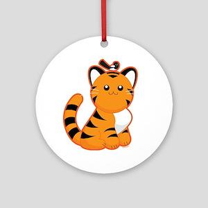 Tiger-magpie Round Ornament