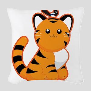 Tiger-magpie Woven Throw Pillow