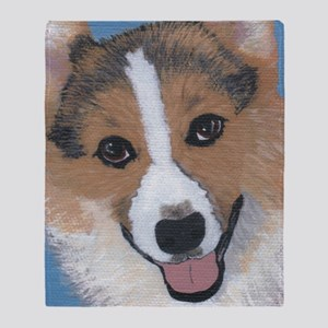 tri colored pembroke welsh corgi Throw Blanket
