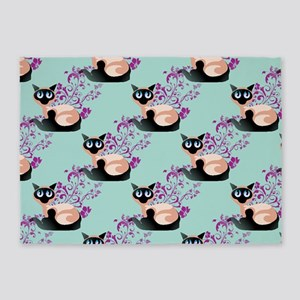 Wide Eyed Siamese 5'X7'area Rug