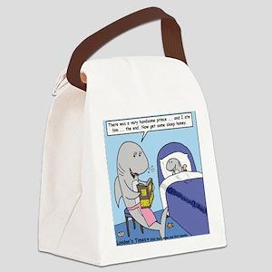 Shark Bedtime Story Canvas Lunch Bag