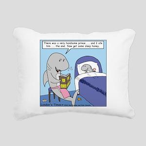 Shark Bedtime Story Rectangular Canvas Pillow