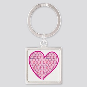 Cancer-Heart Square Keychain