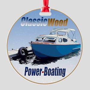 ClassicPowerboat-C8 Round Ornament