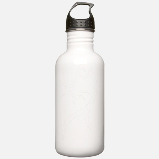 Tribal Cat Bwhite Water Bottle