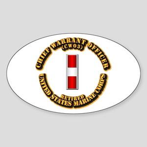 USMC - CW3 - Retired Sticker (Oval)