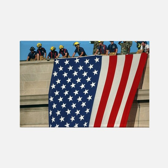 2-Pentagon 9 11 Flag Cap Rectangle Magnet