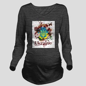 Butterfly Ukraine Long Sleeve Maternity T-Shirt