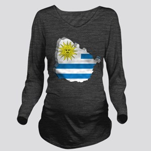 3D Map Of Uruguay Long Sleeve Maternity T-Shirt