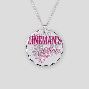 linemans mom_black_ Shirt Necklace Circle Charm