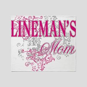 linemans mom black shirt with pole Throw Blanket