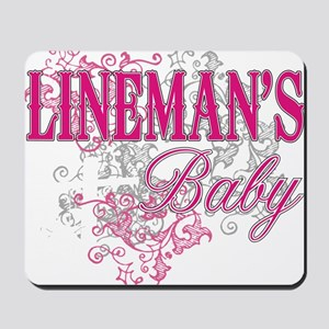 linemans baby black shirt with pole Mousepad