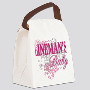 linemans baby black shirt with po Canvas Lunch Bag