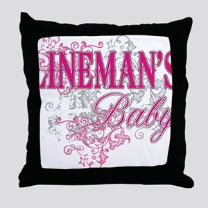 linemans baby black shirt with pole Throw Pillow