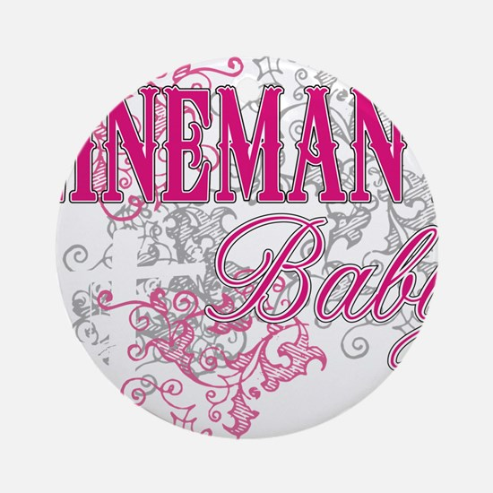 linemans baby black shirt with pole Round Ornament