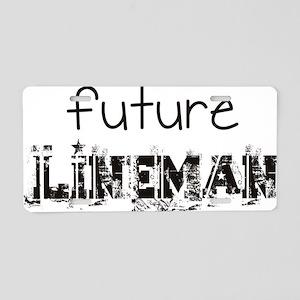 future lineman black Aluminum License Plate
