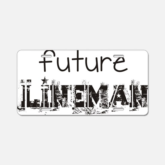future lineman black Aluminum License Plate