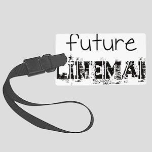 future lineman black Large Luggage Tag