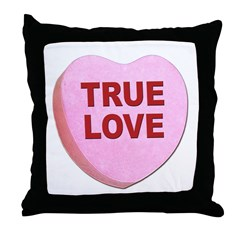 True Love Candy Valentine Heart Throw Pillow