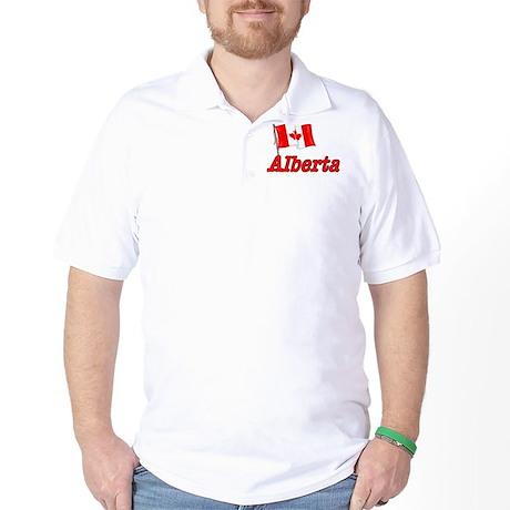 Canada Flag - Alberta Text Golf Shirt