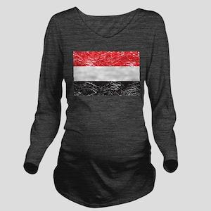 Vintage Yemen Flag Long Sleeve Maternity T-Shirt