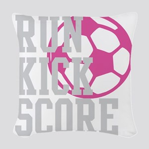 run-kick-score-darks Woven Throw Pillow