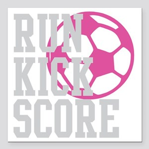 "run-kick-score-darks Square Car Magnet 3"" x 3"""