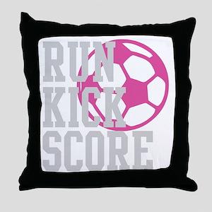 run-kick-score-darks Throw Pillow