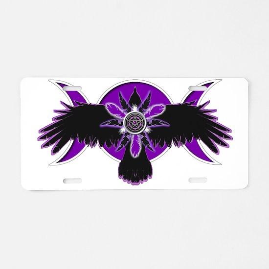 Crow Triple Goddess - Purpl Aluminum License Plate