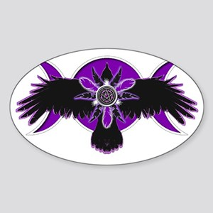 Crow Triple Goddess - Purple Sticker (Oval)