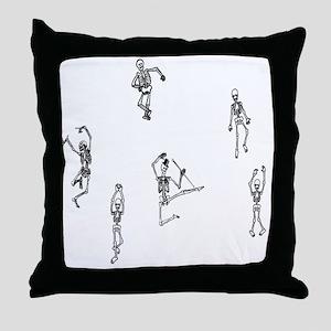 2-skeletons dancing Throw Pillow