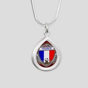 France Soccer Keepsake B Silver Teardrop Necklace