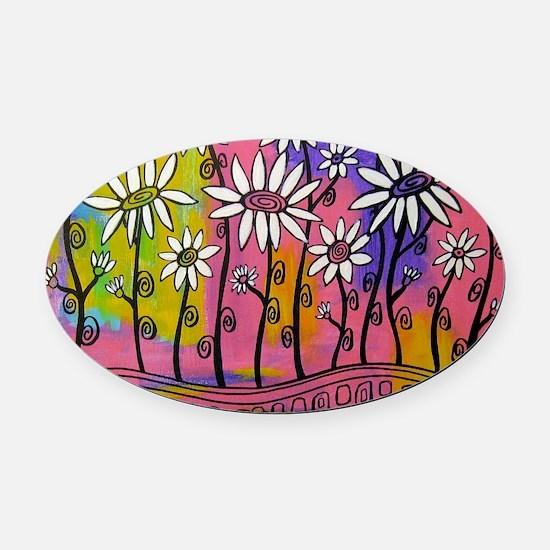 zazzle livelovegrow daisy poster Oval Car Magnet