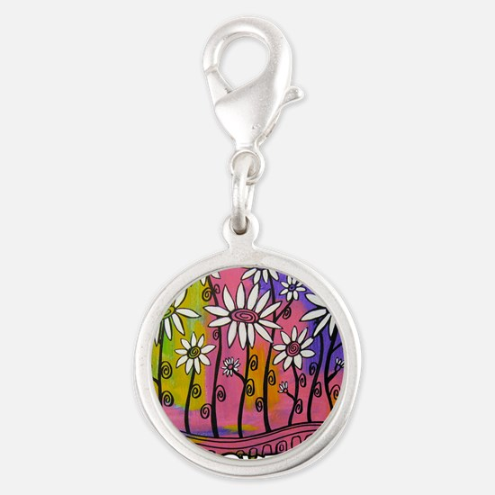 zazzle livelovegrow daisy post Silver Round Charm