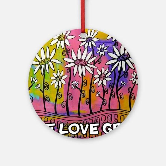 zazzle livelovegrow daisy poster Round Ornament