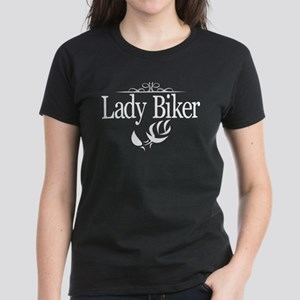 Lady Biker, Rosebud 2, White On Black T-Shirt
