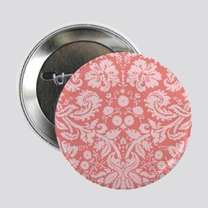 """Coral Pink Damask; floral 2.25"""" Button (10 pack)"""