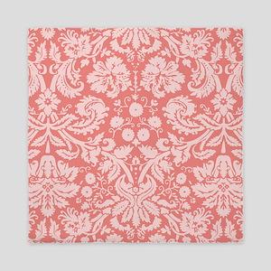Coral Pink Damask; floral Queen Duvet