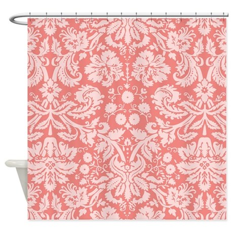 Coral Pink Damask; Floral Shower Curtain