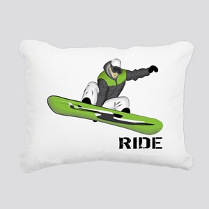 SnowboarderBack Rectangular Canvas Pillow