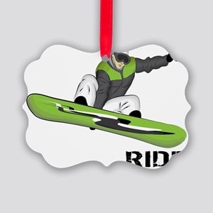 SnowboarderBack Picture Ornament