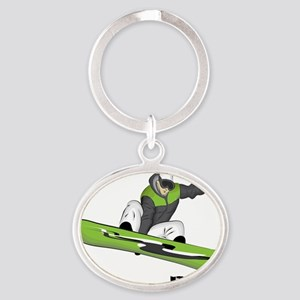 SnowboarderBack Oval Keychain