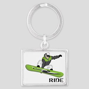 SnowboarderBack Landscape Keychain