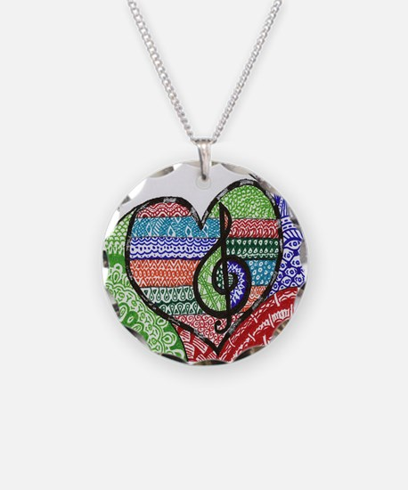 Music is a Song in Your Hear Necklace Circle Charm